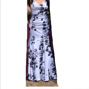 black and white floral mermaid dress